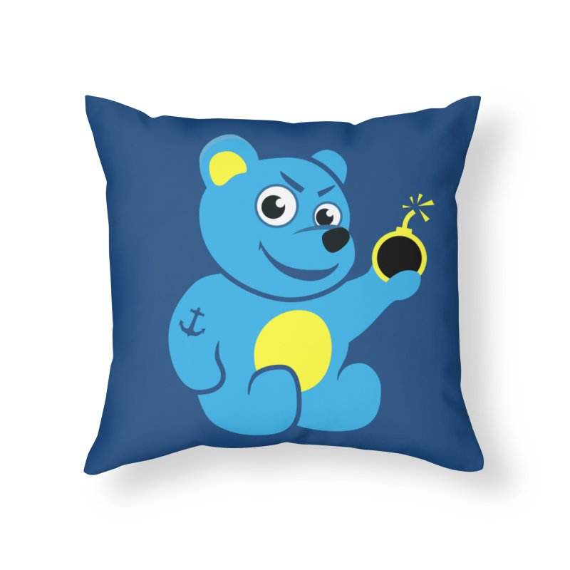 Evil Tattooed Teddy Bear Home Throw Pillow by Boriana's Artist Shop