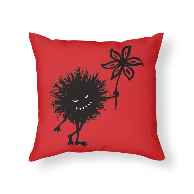 Evil Bug Gives Flower Home Throw Pillow by Boriana's Artist Shop