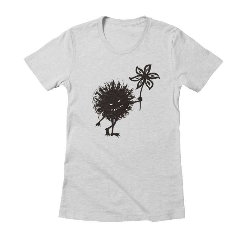 Evil Bug Gives Flower in Women's Fitted T-Shirt Heather Grey by Boriana's Artist Shop