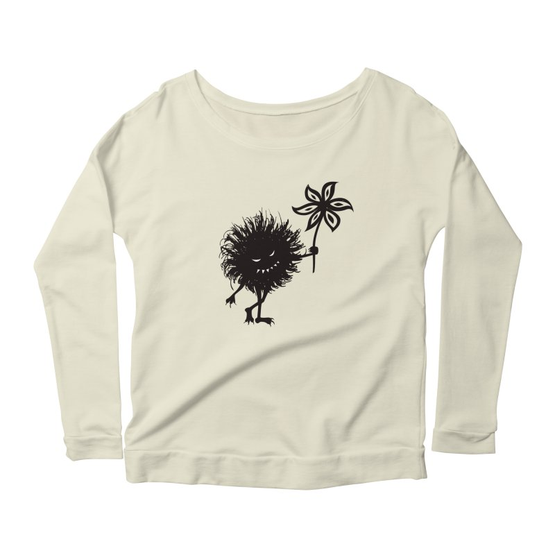 Evil Bug Gives Flower Women's Longsleeve Scoopneck  by Boriana's Artist Shop