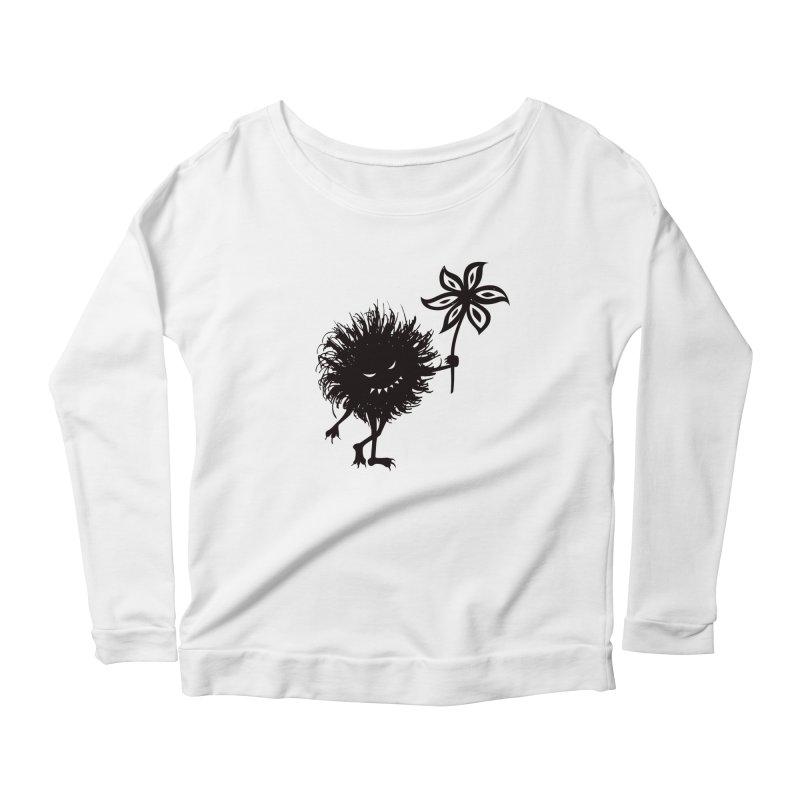 Evil Bug Gives Flower Women's Longsleeve Scoopneck  by Boriana's Artist Shop