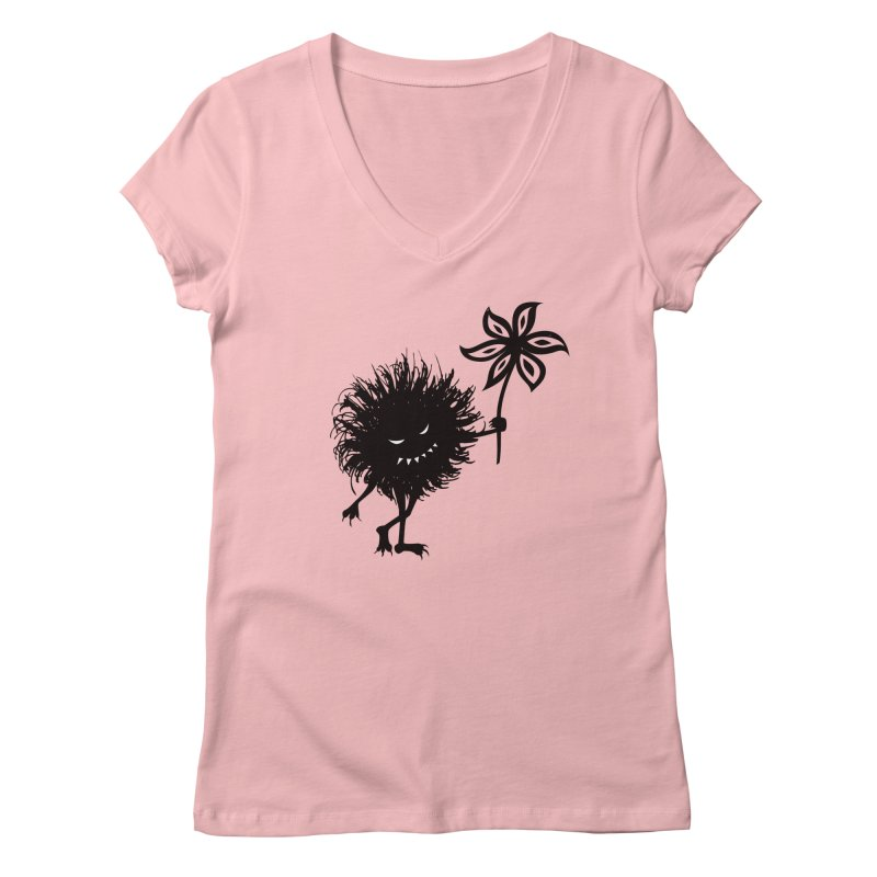 Evil Bug Gives Flower Women's V-Neck by Boriana's Artist Shop
