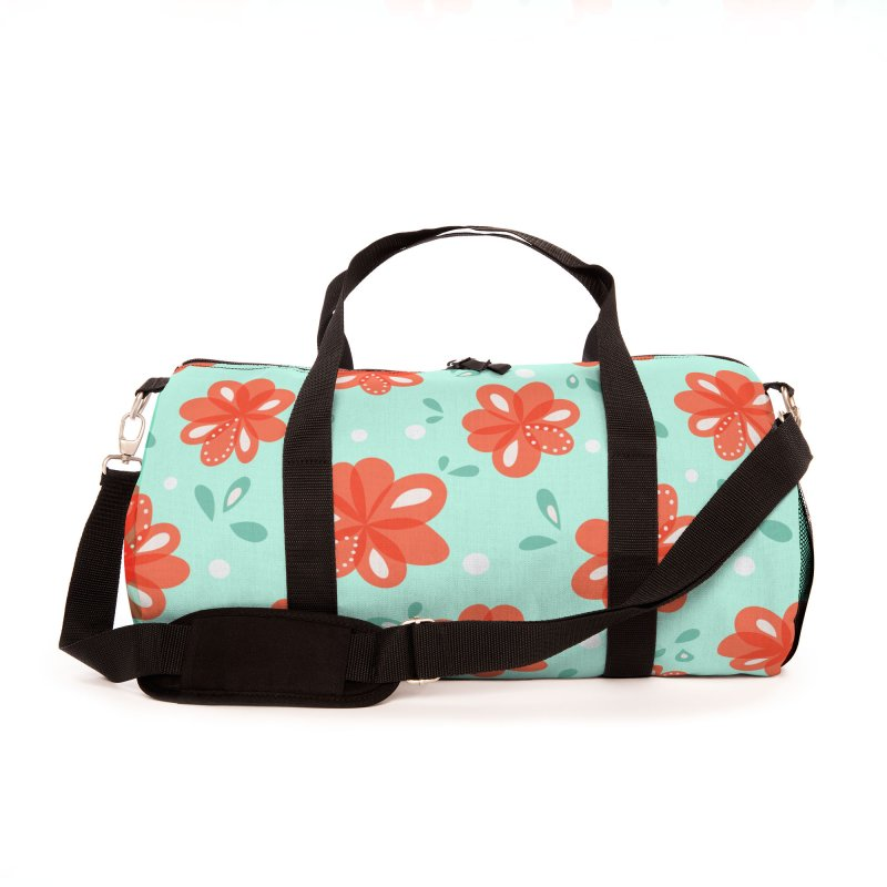 Cheerful red flowers pattern Accessories Bag by Boriana's Artist Shop