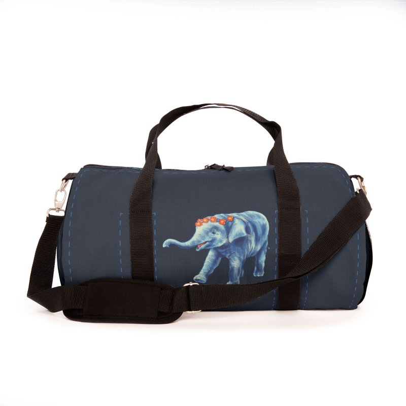 Cute Elephant In Blue With Wreath Of Flowers Accessories Bag by Boriana's Artist Shop