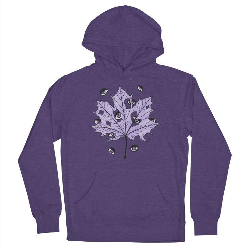 Purple Leaf With Spooky Eyes Dark Art Women's Pullover Hoody by Boriana's Artist Shop