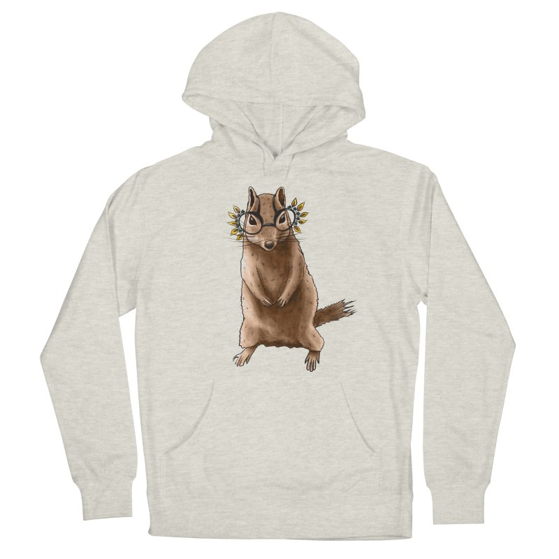 Cute Chipmunk With Autumn Leaves Hippie Glasses Women's Pullover Hoody by Boriana's Artist Shop