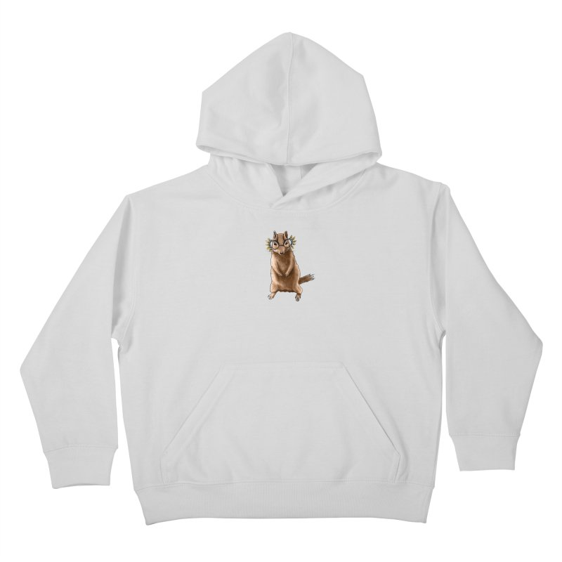 Cute Chipmunk With Autumn Leaves Hippie Glasses Kids Pullover Hoody by Boriana's Artist Shop