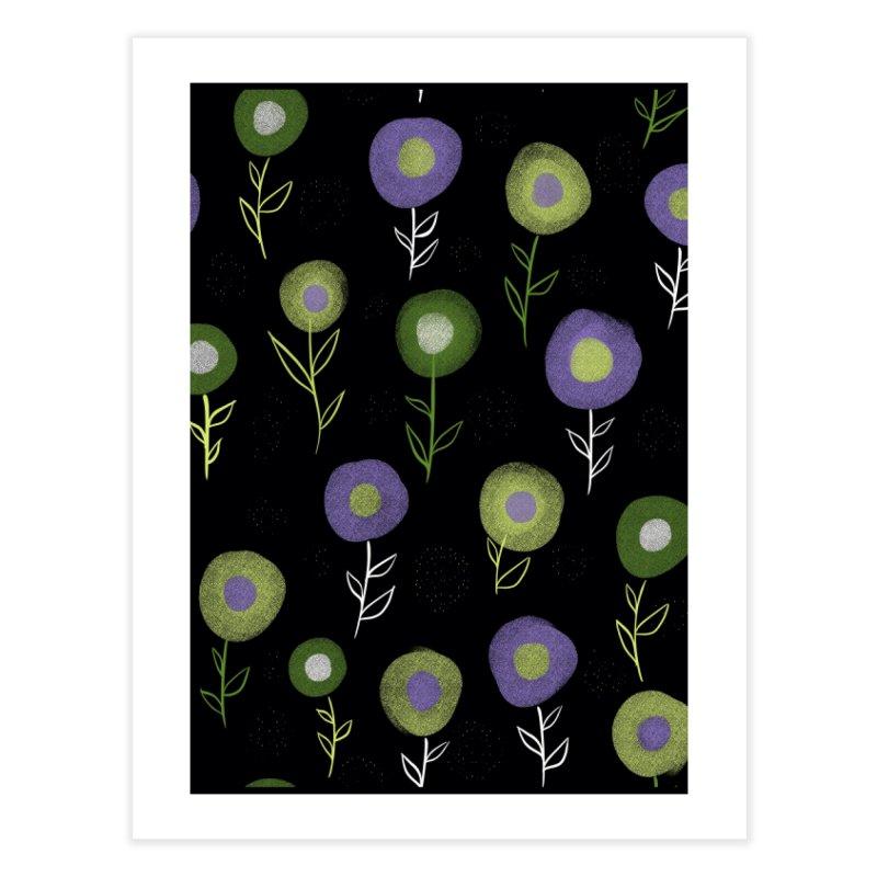 Dark Floral Pattern - Green Purple Round Flowers Home Fine Art Print by Boriana's Artist Shop