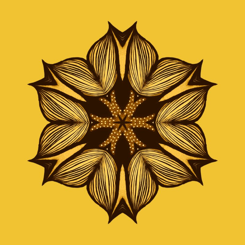 Yellow Flower Abstract Art In Ink Home Fine Art Print by Boriana's Artist Shop