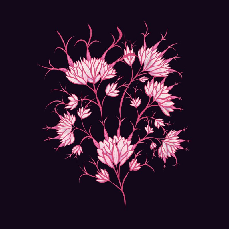 Pink Flowers On Dark Purple Decorative Floral Home Fine Art Print by Boriana's Artist Shop