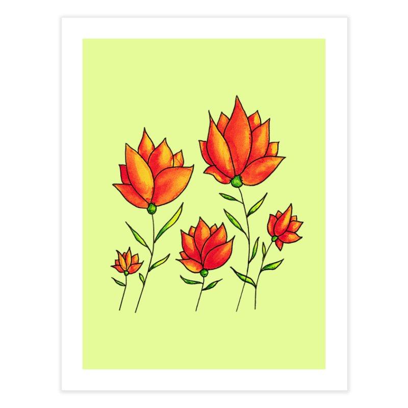 Orange Flowers Spring Watercolor Home Fine Art Print by Boriana's Artist Shop