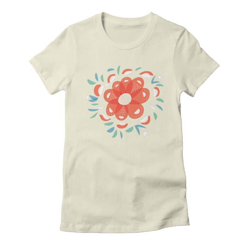 Abstract Whimsical Red Flower in Women's Fitted T-Shirt Natural by Boriana's Artist Shop