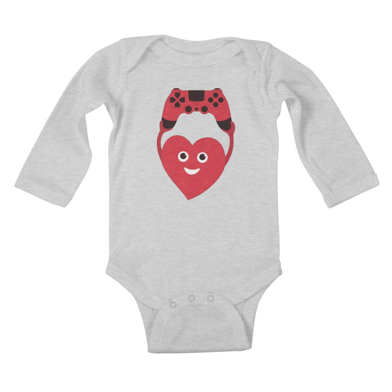 Gamer Heart Kids Baby Longsleeve Bodysuit by Boriana's Artist Shop