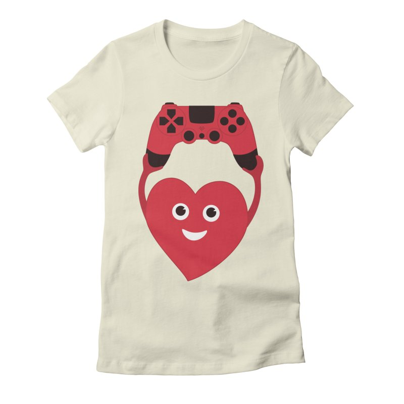 Gamer Heart in Women's Fitted T-Shirt Natural by Boriana's Artist Shop