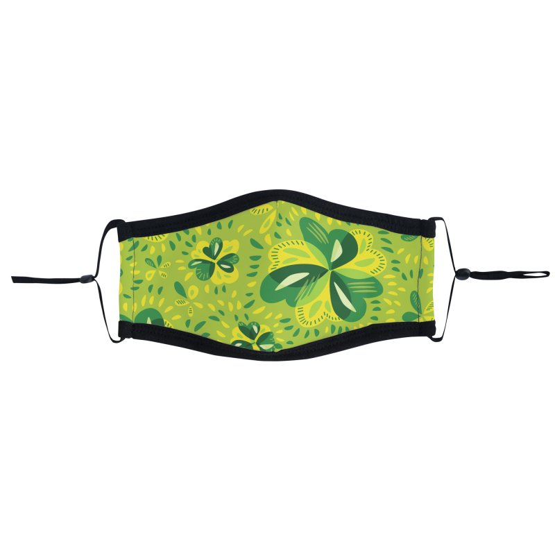 Three Leaf Clovers Decorative Spring Pattern Accessories Face Mask by Boriana's Artist Shop