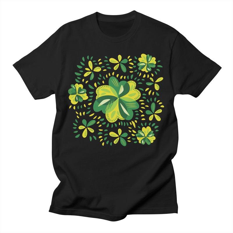 Three Leaf Clovers Decorative Spring Pattern Men's T-Shirt by Boriana's Artist Shop