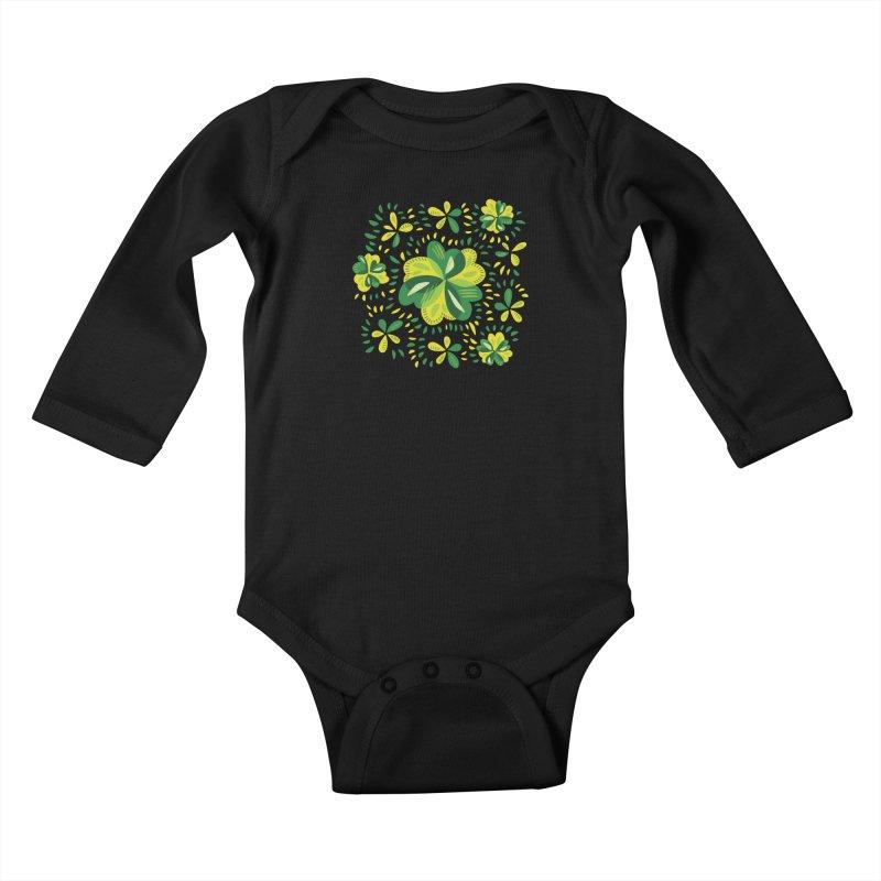 Three Leaf Clovers Decorative Spring Pattern Kids Baby Longsleeve Bodysuit by Boriana's Artist Shop