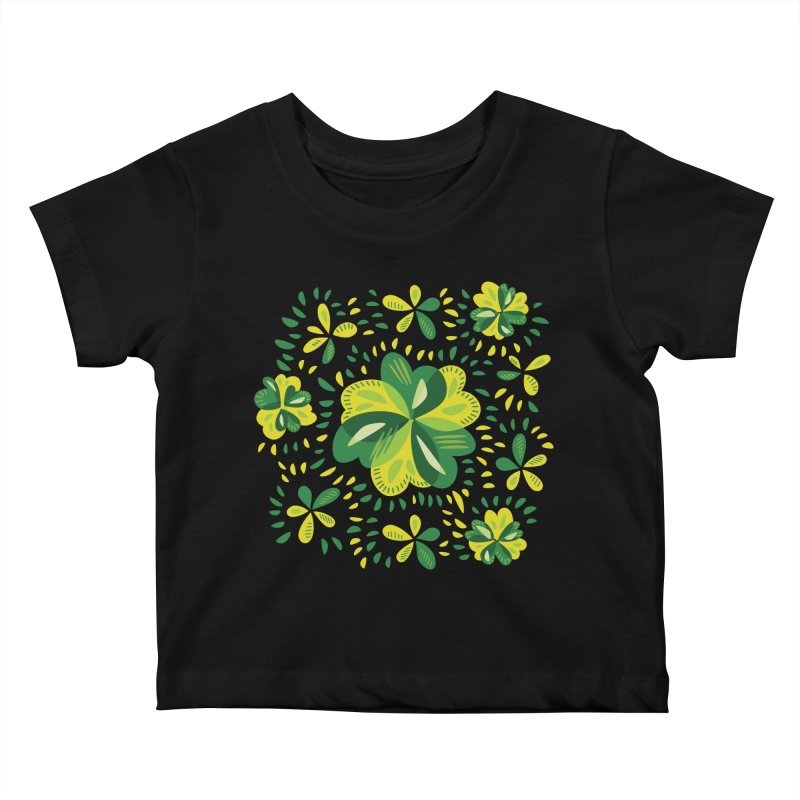Three Leaf Clovers Decorative Spring Pattern Kids Baby T-Shirt by Boriana's Artist Shop