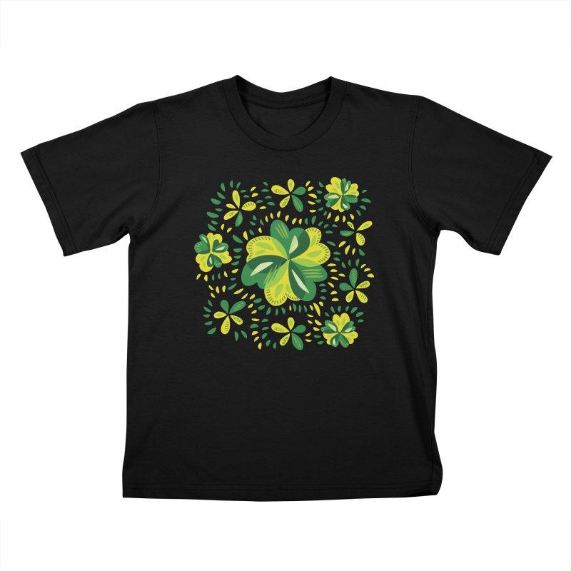 Three Leaf Clovers Decorative Spring Pattern Kids T-Shirt by Boriana's Artist Shop