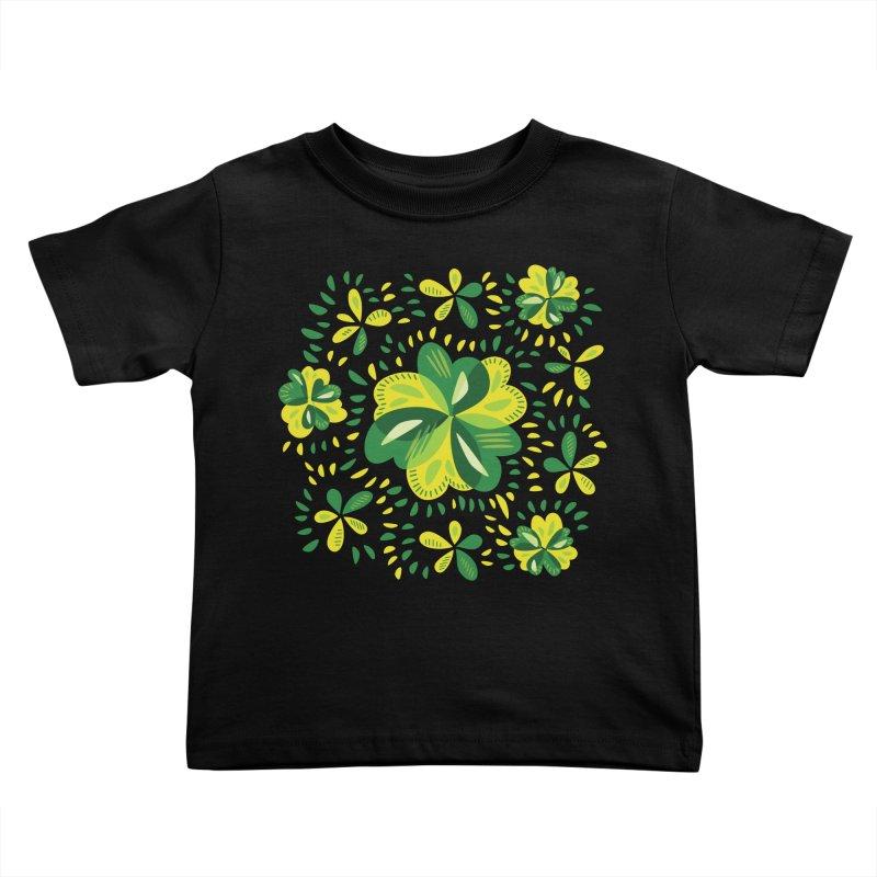Three Leaf Clovers Decorative Spring Pattern Kids Toddler T-Shirt by Boriana's Artist Shop
