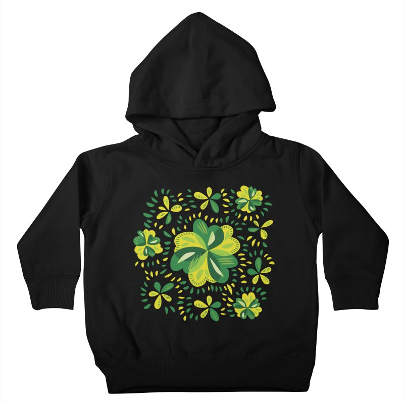 Three Leaf Clovers Decorative Spring Pattern Kids Toddler Pullover Hoody by Boriana's Artist Shop