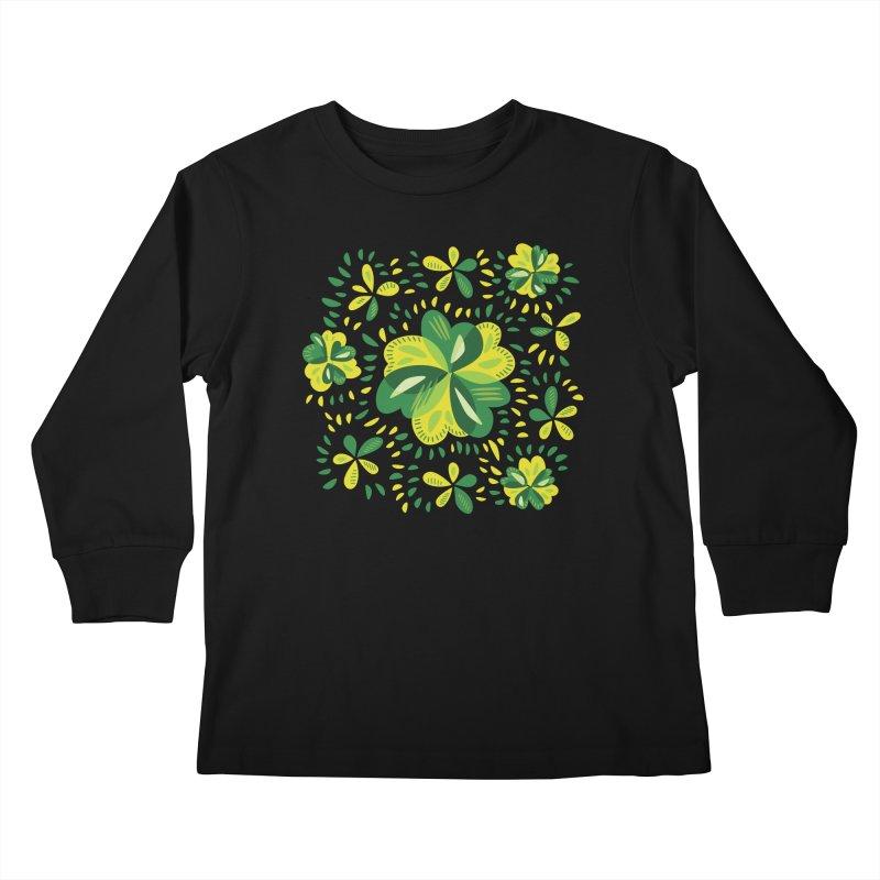 Three Leaf Clovers Decorative Spring Pattern Kids Longsleeve T-Shirt by Boriana's Artist Shop