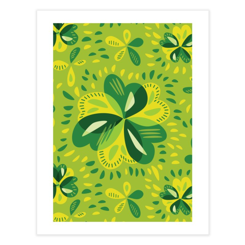 Three Leaf Clovers Decorative Spring Pattern Home Fine Art Print by Boriana's Artist Shop