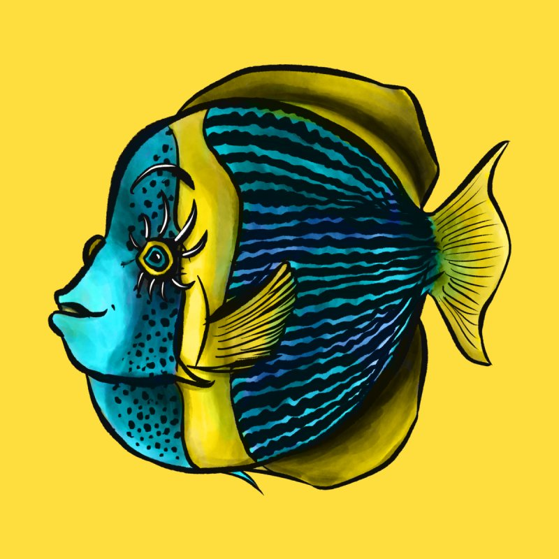 Tropical Fish With Eyelashes In Blue Yellow Kids Toddler T-Shirt by Boriana's Artist Shop