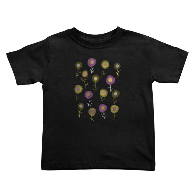 Dark Floral Pattern - Pink Yellow Round Flowers Kids Toddler T-Shirt by Boriana's Artist Shop