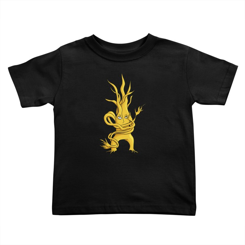 Creepy Tree Creature Yellow And Grey Kids Toddler T-Shirt by Boriana's Artist Shop