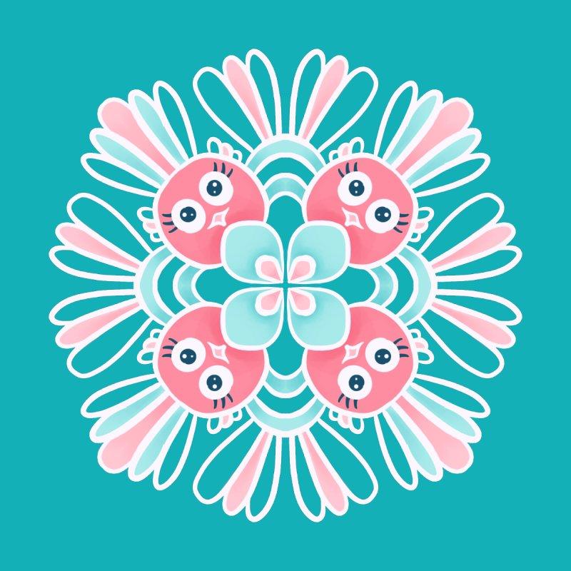 Cute Birds Flower Mandala Kids T-Shirt by Boriana's Artist Shop