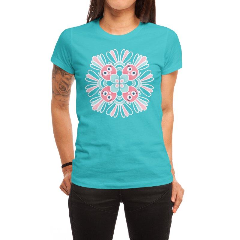 Cute Birds Flower Mandala Women's T-Shirt by Boriana's Artist Shop