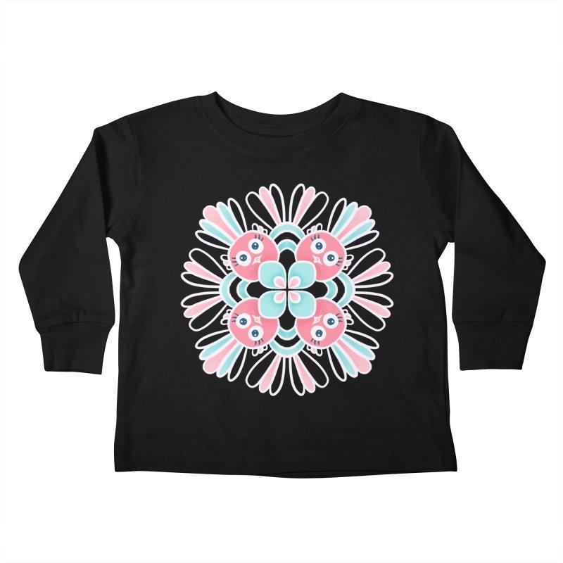 Cute Birds Flower Mandala Kids Toddler Longsleeve T-Shirt by Boriana's Artist Shop