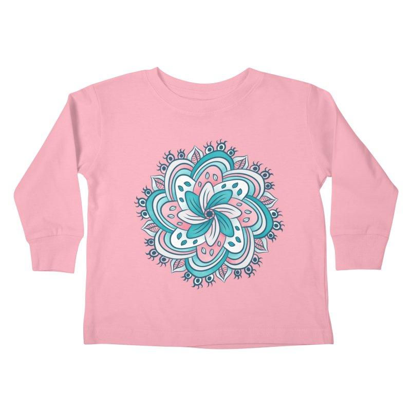 Flower Mandala With Hidden Eyes Kids Toddler Longsleeve T-Shirt by Boriana's Artist Shop