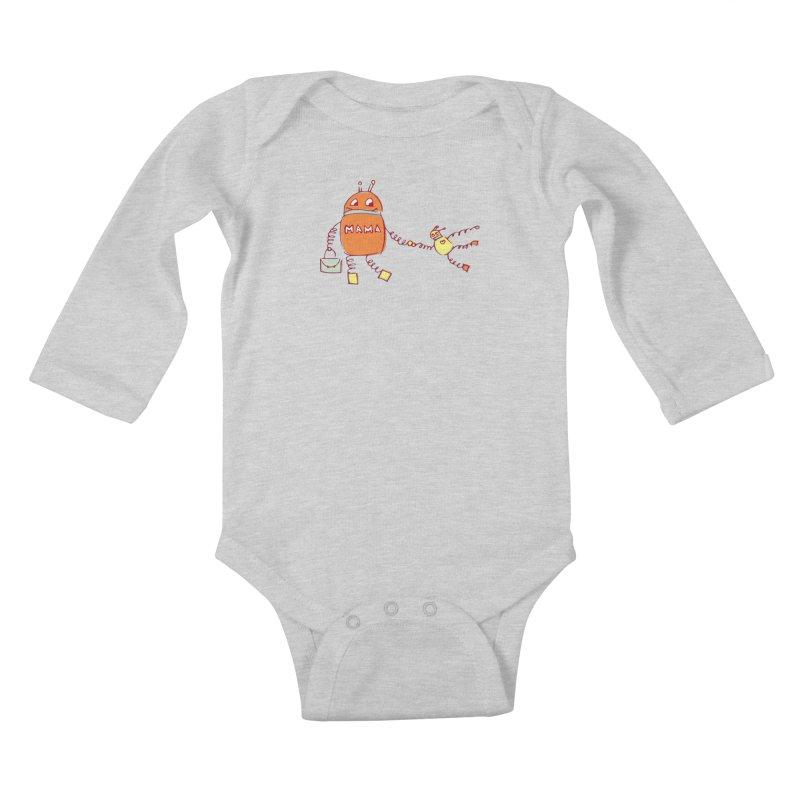 Robomama Kids Baby Longsleeve Bodysuit by Boriana's Artist Shop