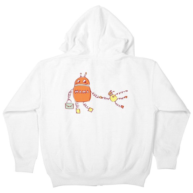 Robomama Kids Zip-Up Hoody by Boriana's Artist Shop