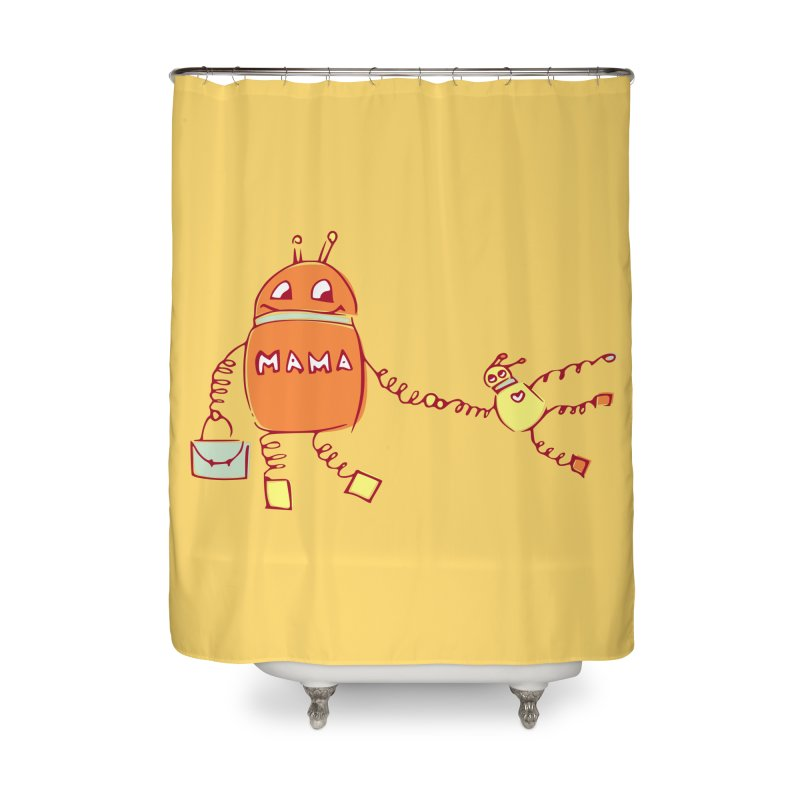 Robomama Home Shower Curtain by Boriana's Artist Shop
