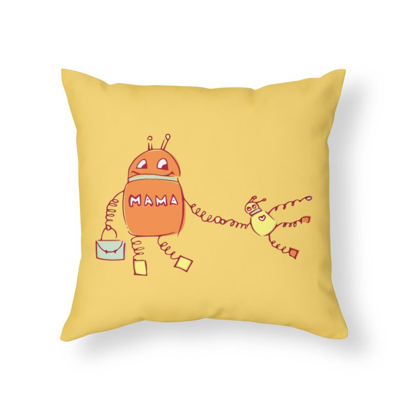 Robomama Home Throw Pillow by Boriana's Artist Shop