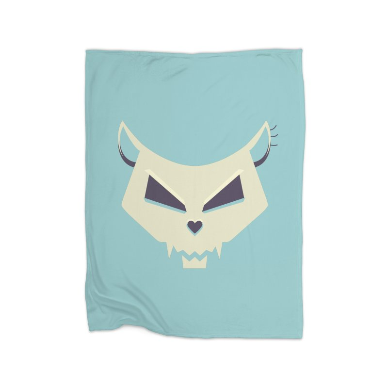 Funny Evil Cat Skull Home Blanket by Boriana's Artist Shop
