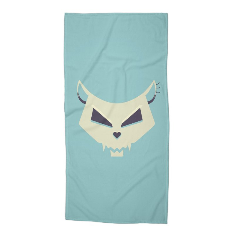 Funny Evil Cat Skull Accessories Beach Towel by Boriana's Artist Shop