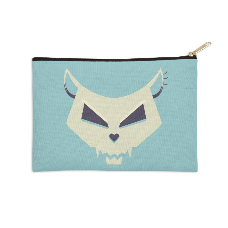 Funny Evil Cat Skull Accessories Zip Pouch by Boriana's Artist Shop
