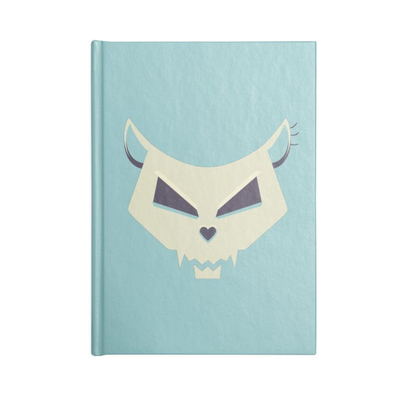 Funny Evil Cat Skull Accessories Notebook by Boriana's Artist Shop