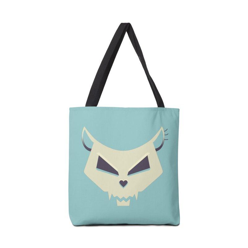 Funny Evil Cat Skull Accessories Bag by Boriana's Artist Shop
