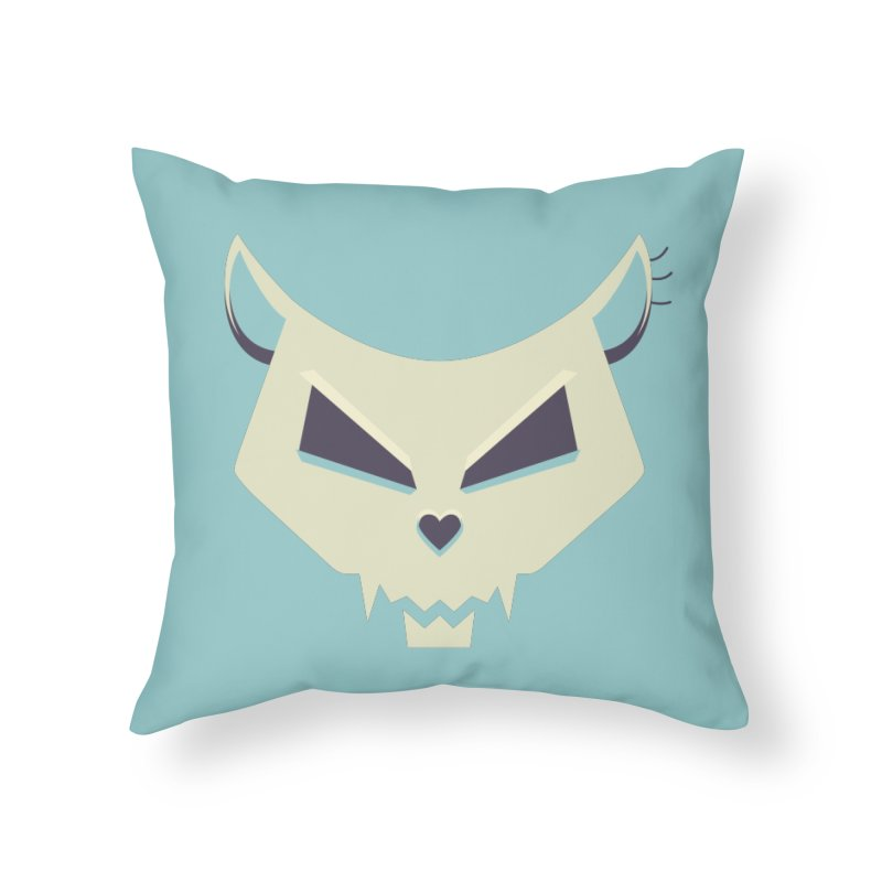 Funny Evil Cat Skull Home Throw Pillow by Boriana's Artist Shop