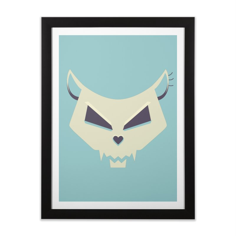 Funny Evil Cat Skull Home Framed Fine Art Print by Boriana's Artist Shop