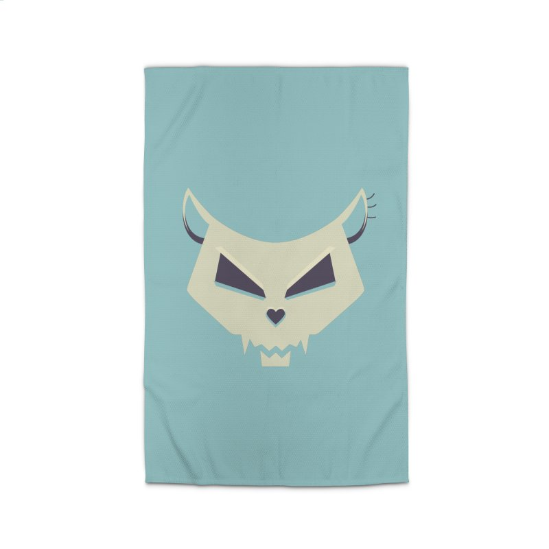 Funny Evil Cat Skull Home Rug by Boriana's Artist Shop