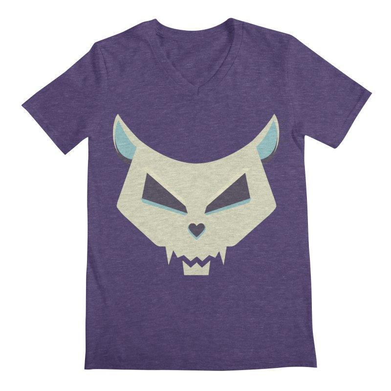 Funny Evil Cat Skull Men's V-Neck by Boriana's Artist Shop