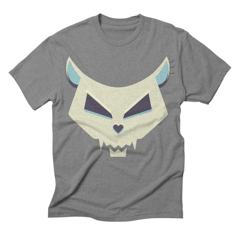 Funny Evil Cat Skull Men's Triblend T-shirt by Boriana's Artist Shop