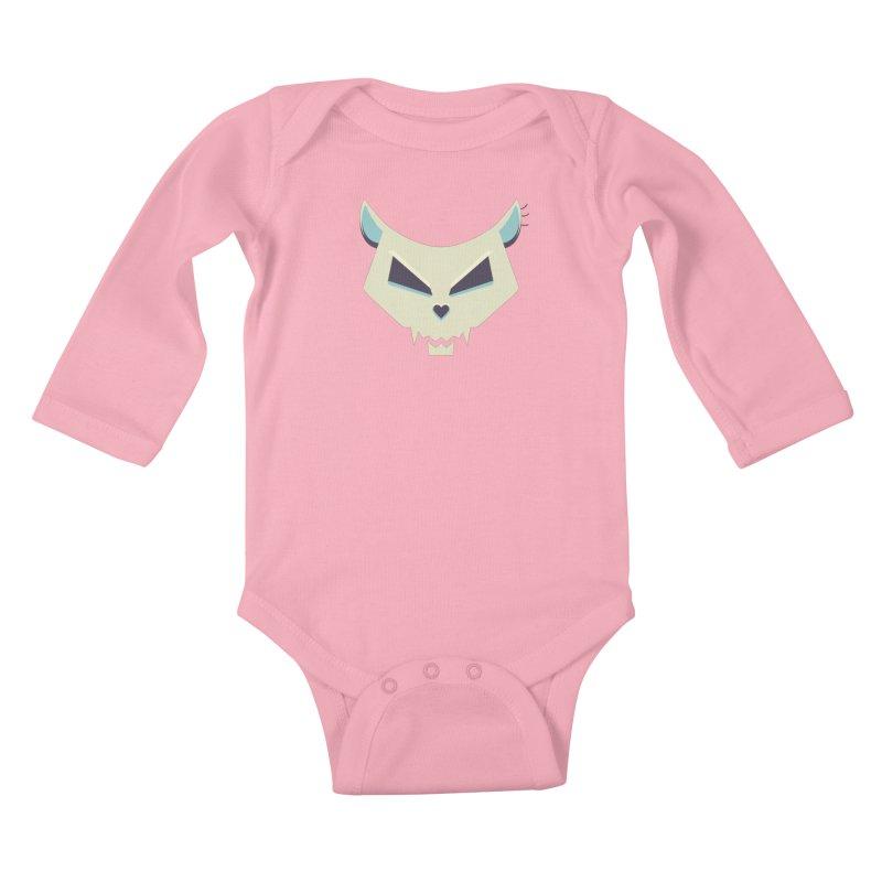 Funny Evil Cat Skull Kids Baby Longsleeve Bodysuit by Boriana's Artist Shop