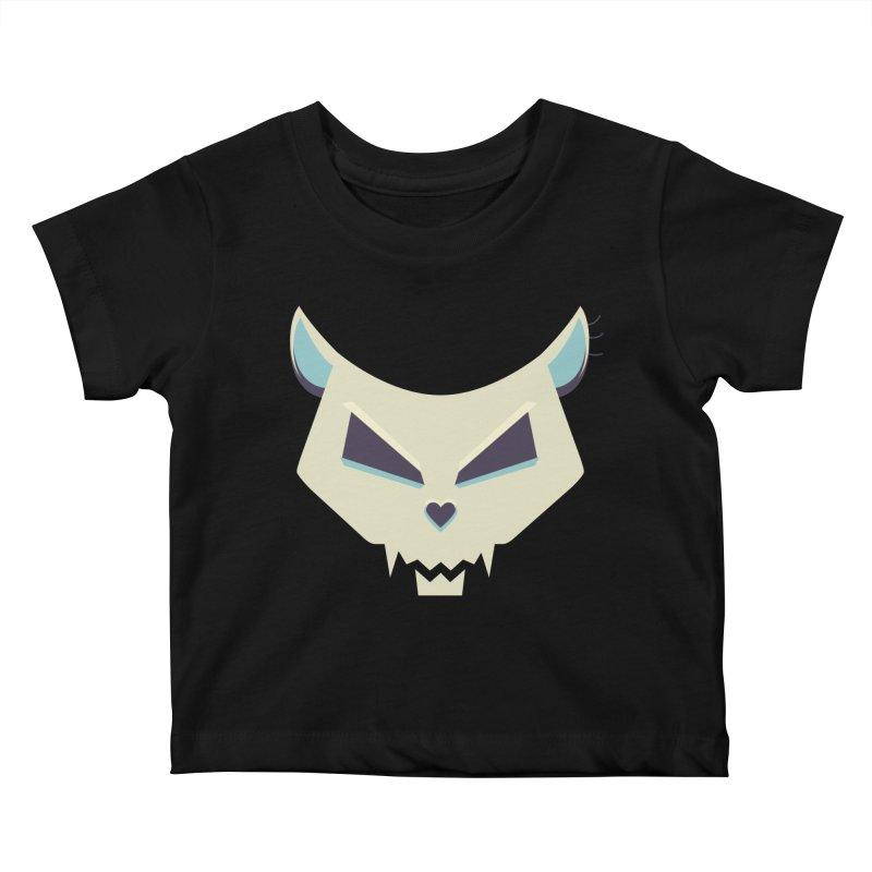 Funny Evil Cat Skull Kids Baby T-Shirt by Boriana's Artist Shop